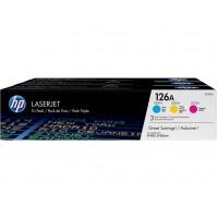 HP 126A pack de 3 toners LaserJet cyan/magenta/jaune authentiques(CF341A)